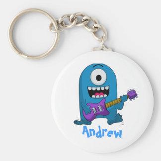 Cute Blue Monster Guitarist Basic Round Button Keychain