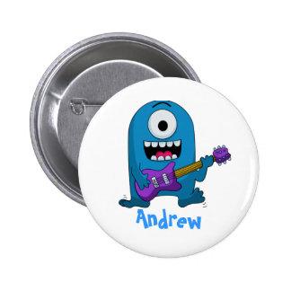 Cute Blue Monster Guitarist Button