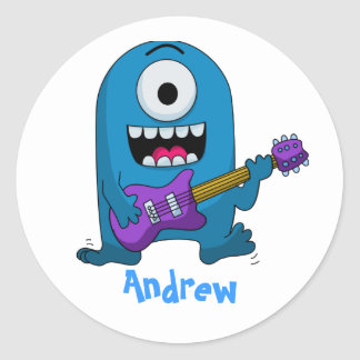 Cute Blue Monster Guitarist Classic Round Sticker