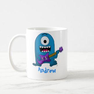 Cute Blue Monster Guitarist Coffee Mug