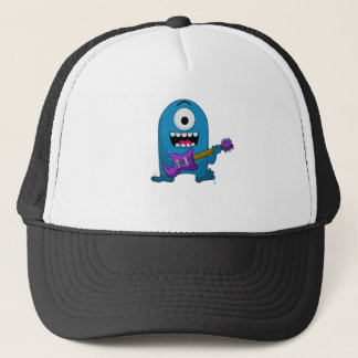 cute blue monster guitarist.png trucker hat