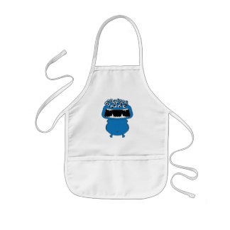 Cute blue monster kids' apron