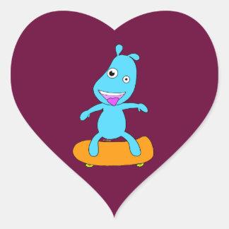 Cute blue monster heart sticker