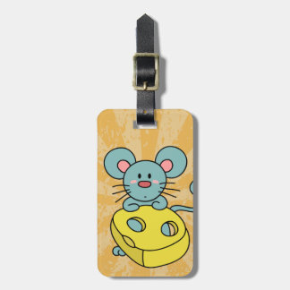Cute Blue Mouse with Yellow Cheese Bag Tag