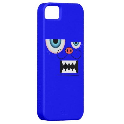 Cute Blue Mustache Monster Emoticon iPhone 5 Case