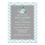 Cute Blue Mustache Whale Boy Baby Shower Invite
