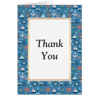 Cute blue nautical sailor pattern card