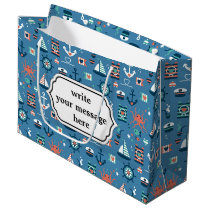 Cute blue nautical sailor pattern large gift bag
