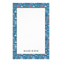 Cute blue nautical sailor pattern stationery