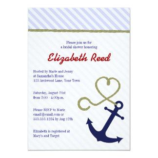 Cute Blue Nautical Theme Anchor Bridal Shower 5x7 Paper Invitation Card