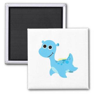 Cute Blue Nessie 2 Inch Square Magnet