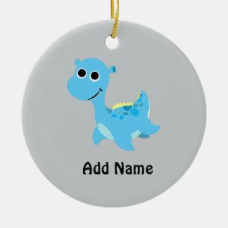 Cute Blue Nessie Ceramic Ornament