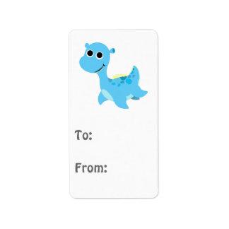Cute Blue Nessie Label