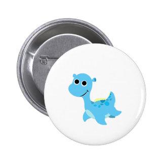 Cute Blue Nessie Pinback Button