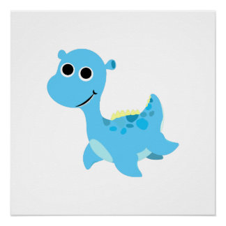 Cute Blue Nessie Poster