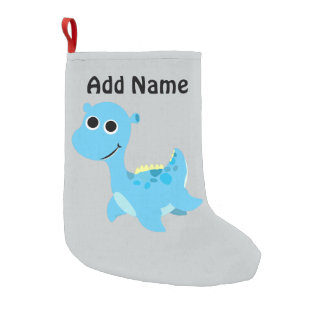 Cute Blue Nessie Small Christmas Stocking