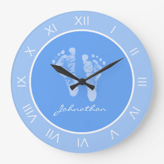 Cute Blue Nursery Footprints With Baby Boy Name Large Clock