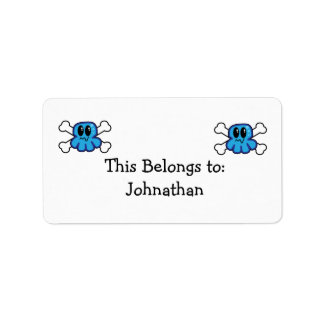 cute blue octopus and crossbones address label