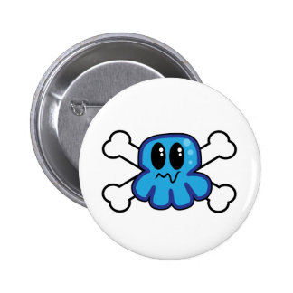 cute blue octopus and crossbones 2 inch round button