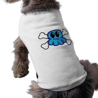 cute blue octopus and crossbones doggie tee
