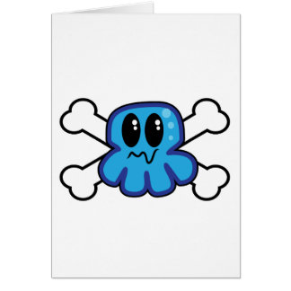 cute blue octopus and crossbones greeting card