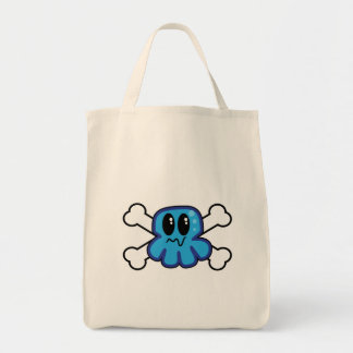 cute blue octopus and crossbones grocery tote bag