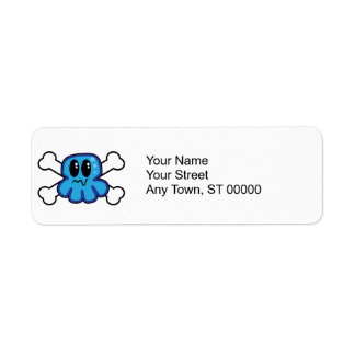 cute blue octopus and crossbones return address label