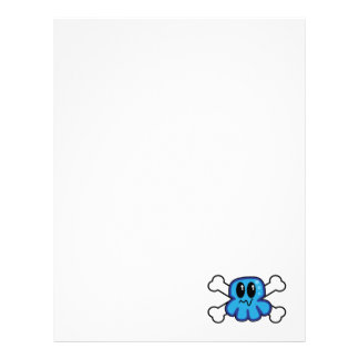 cute blue octopus and crossbones letterhead