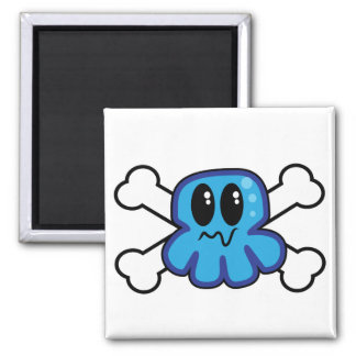 cute blue octopus and crossbones 2 inch square magnet