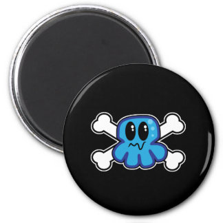 cute blue octopus and crossbones 2 inch round magnet