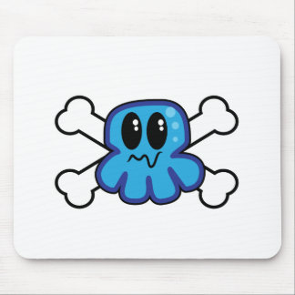cute blue octopus and crossbones mouse pad