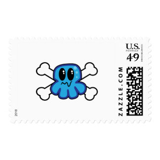 cute blue octopus and crossbones postage