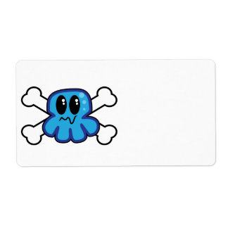 cute blue octopus and crossbones shipping label