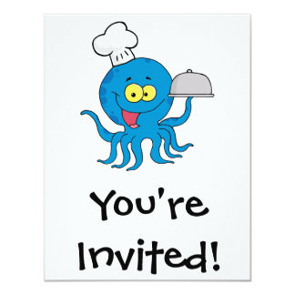 cute blue octopus chef with serving platter card