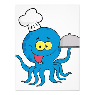 cute blue octopus chef with serving platter custom invites