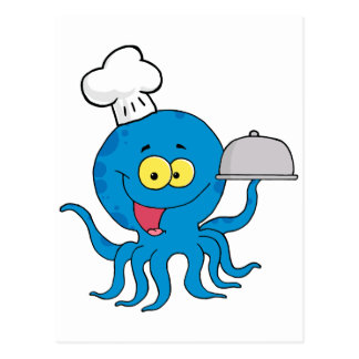 cute blue octopus chef with serving platter postcard