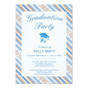 Aztec Themed Cute blue orange Aztec Tribal graduation party Card