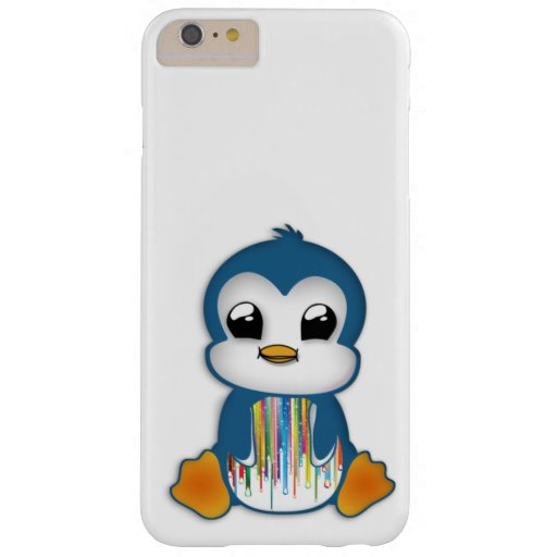 Cute blue orange penguin barely there iPhone 6 plus case