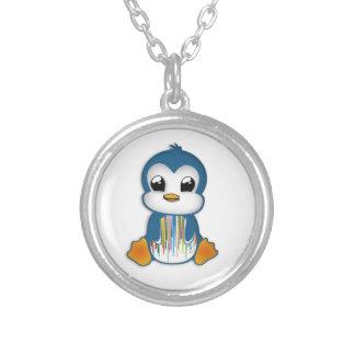 Cute blue orange penguin round pendant necklace