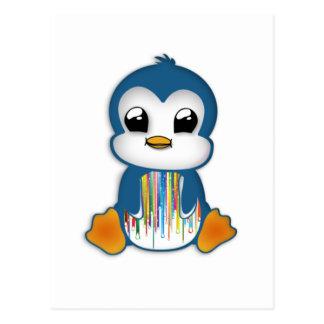 Cute blue orange penguin postcard