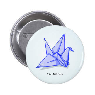 Cute blue origami paper crane pinback button