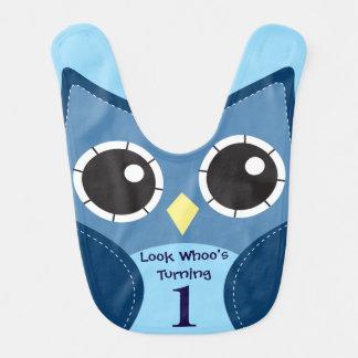 Cute Blue Owl 1st Birthday Baby Bib