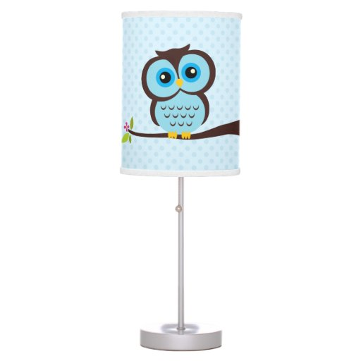 Cute Blue Owl and Polka Dots Table Lamp
