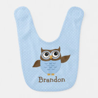 Cute Blue Owl Baby Boy Bib