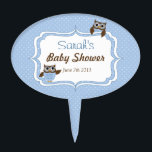 """Cute Blue Owl Baby Shower Cake Pick<br><div class=""""desc"""">Two cute  owls in blue and brown on a blue and white polka dot background.</div>"""