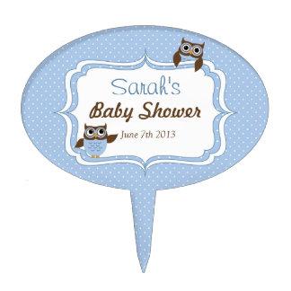 Cute Blue Owl Baby Shower Cake Pick