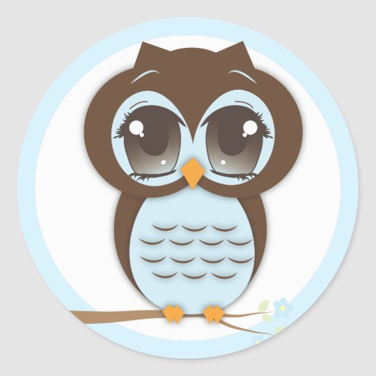 Cute Blue Owl Baby Shower for a Boy Classic Round Sticker