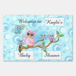 Cute Blue Owl Baby Shower Sign Signs