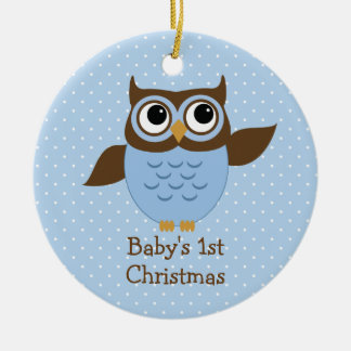 Cute Blue Owl Baby's 1st Christmas Ornament