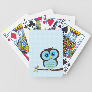 Cute Blue Owl Bicycle Playing Cards